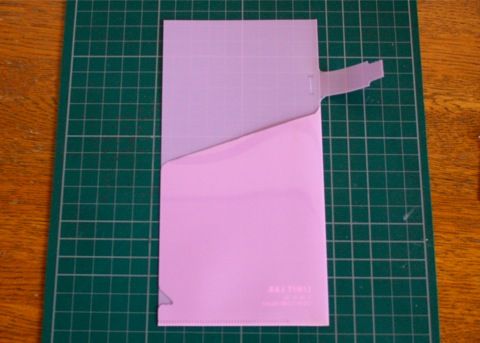 pen holder + clear folder, cutting